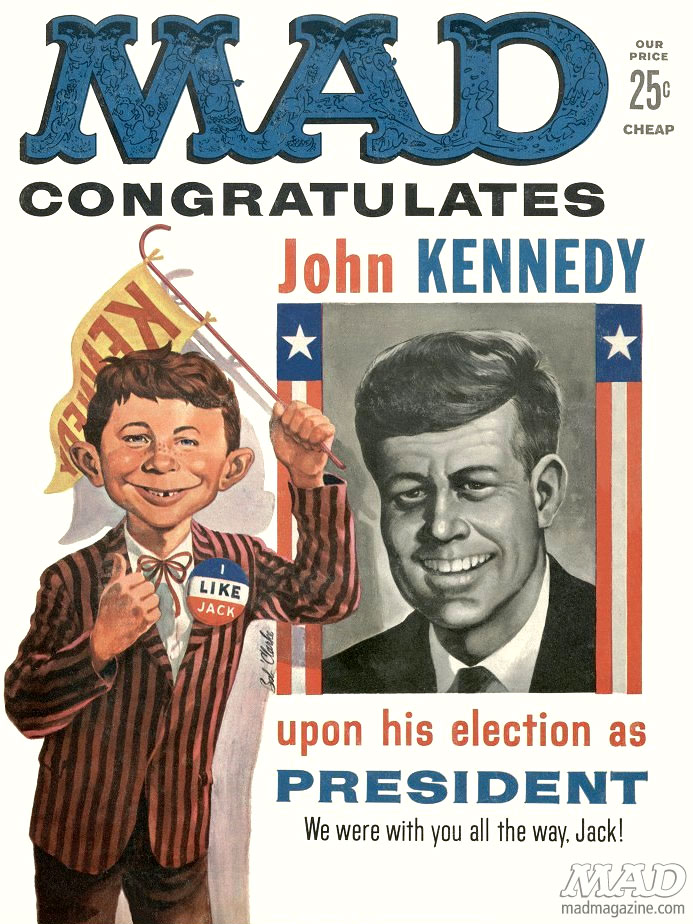 Alfred E. Neuman congratulating JFK on the cover of the January 1961 issue of Mad Magazine referencing Kennedy's winning of the Presidency